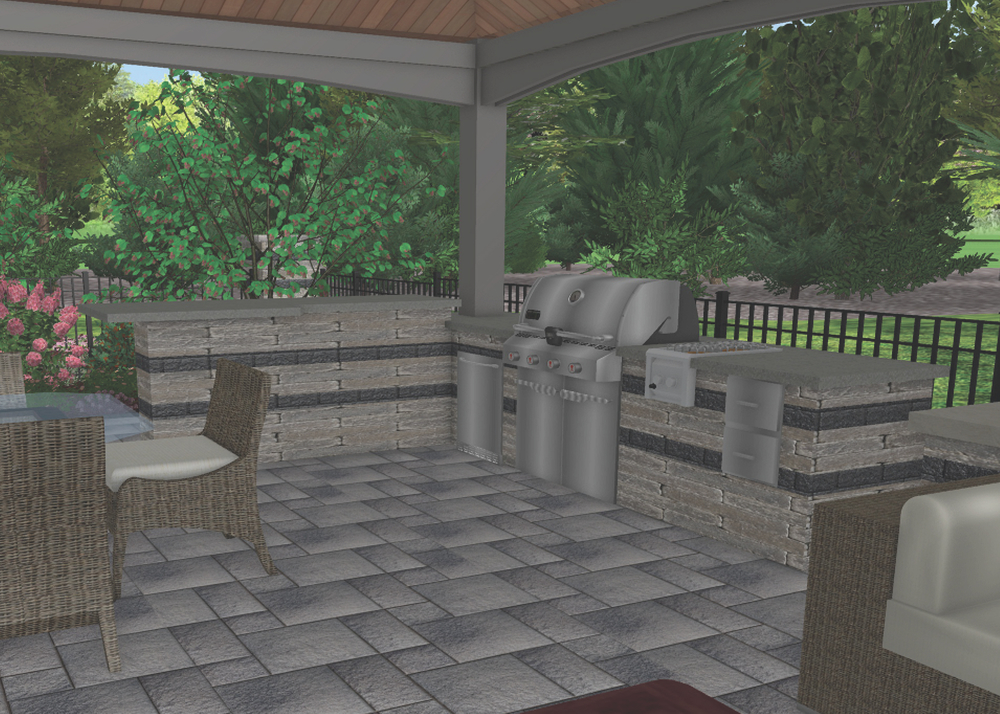 3D rendering of grill island