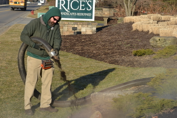 Mulch blowing by Rice's Landscaping