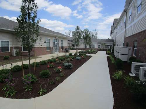 Assisted living facility in Wooster - Landscaping around building and walkways