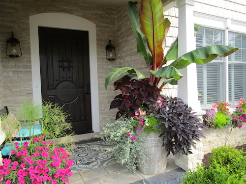 Seasonal landscape colors featured in planters on front porch