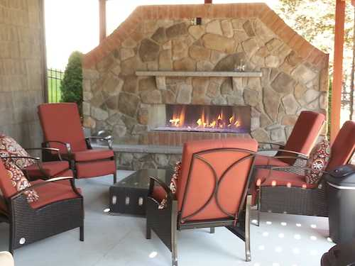 Custom Designed Patio with Fireplace