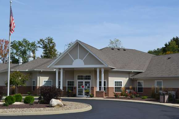 Landscaping at the front entrance of an assisted living facility